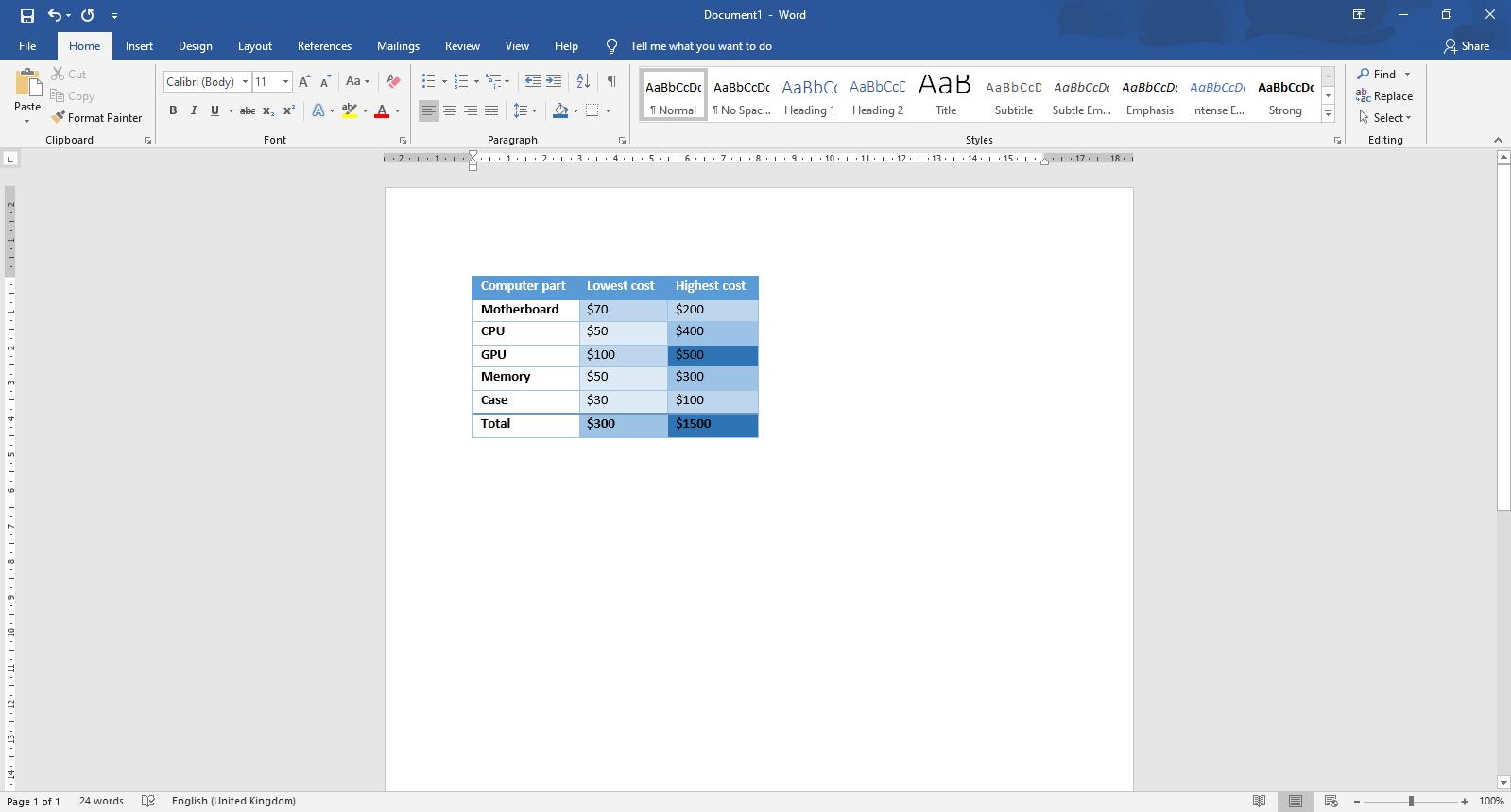 Microsoft Word에서 표를 추가하고 사용자 지정하는 방법
