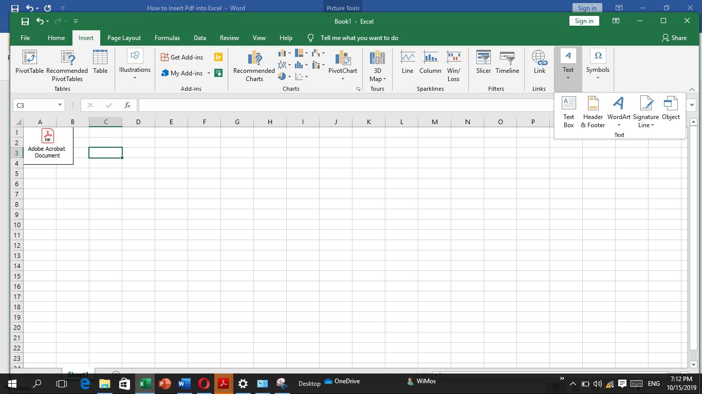 Kuidas lisada PDF Excelisse
