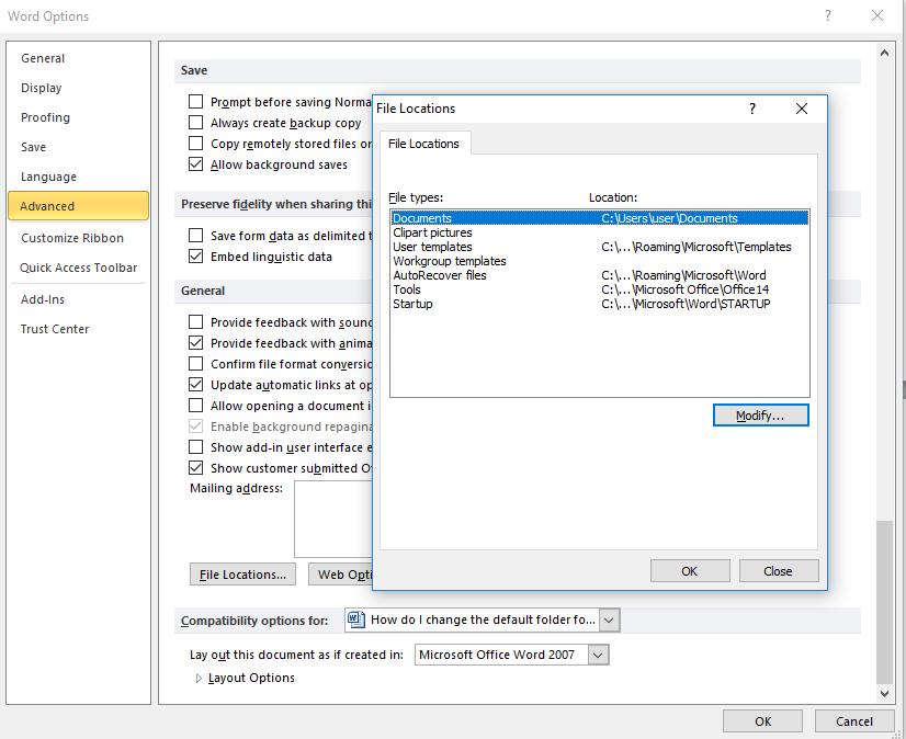 Com canviar la carpeta per defecte per desar i obrir fitxers a Office