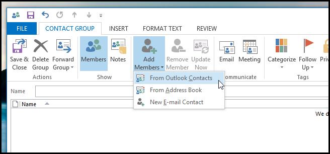 Cómo crear un grupo de contactos en Microsoft Outlook