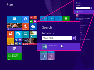 Com es poden trobar aplicacions de Microsoft Office a Windows 8.1, 8 o 7