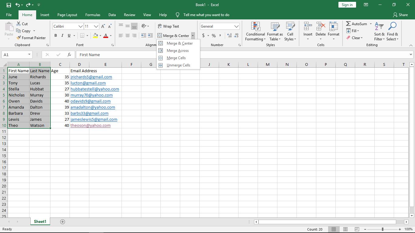 Cómo combinar celdas en Excel