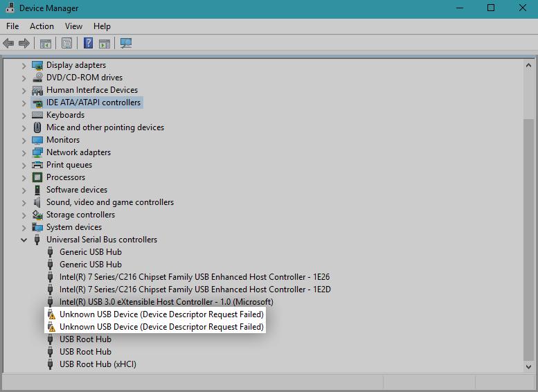 Kā novērst ierīces deskriptora pieprasījumu neizdevās (nezināma USB ierīce) operētājsistēmā Windows 10