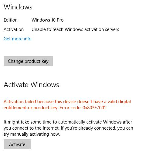 Không thể tiếp cận máy chủ kích hoạt Windows
