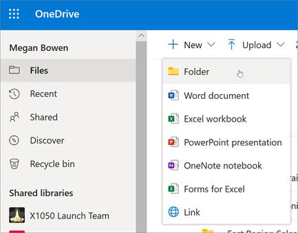 Mappák és fájlok kezelése a OneDrive for Business alkalmazásban