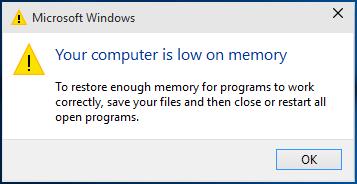 Kā labot datoru, operētājsistēmā Windows 10 ir maz atmiņas