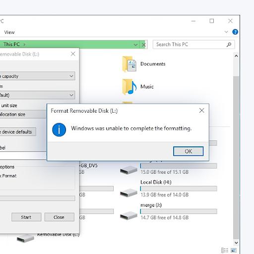 Kā novērst Windows nevarēja pabeigt kļūdu Format