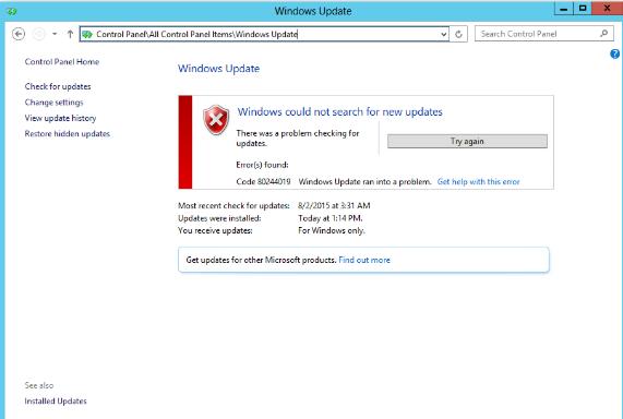 Windows Update မှားယွင်းမှုကိုဘယ်လိုပြုပြင်မလဲ 80244019